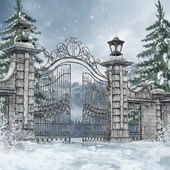 Cemetery gate in a winter forest