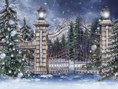 Vintage gate with Christmas trees