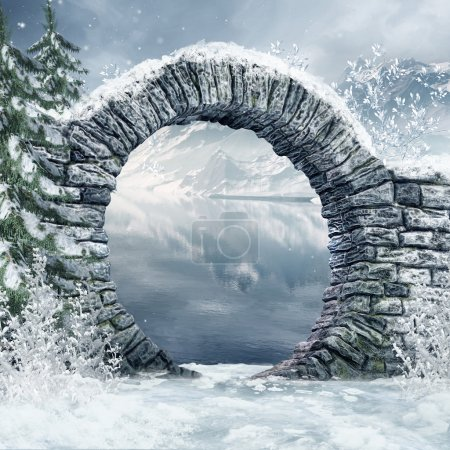 Photo for Ruined stone gate in a snowy landscape - Royalty Free Image