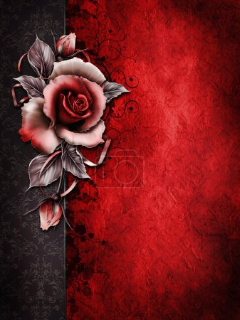 Photo for Dark Valentine background with a red rose and ribbons - Royalty Free Image