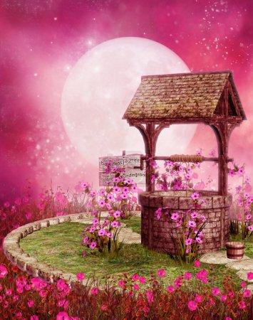 Photo pour Vieux puits avec vignes fleuries dans un décor rose - image libre de droit