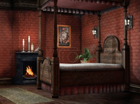 Vintage bedroom with a fireplace