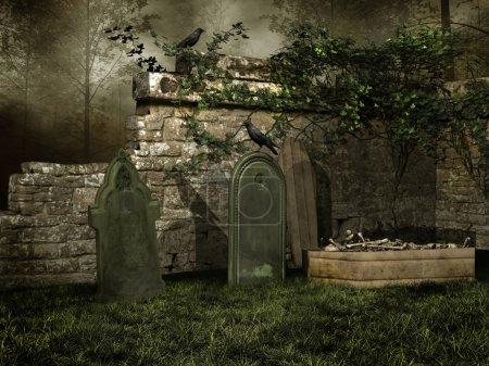 Medieval cemetery with bones