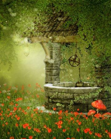 Photo pour Vieux puits vintage sur une prairie verte avec des fleurs de pavot - image libre de droit