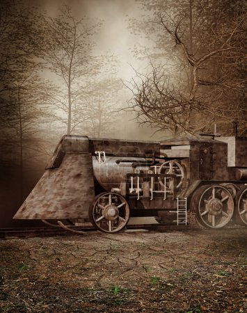 Photo for Autumn scenery with an old retro train - Royalty Free Image