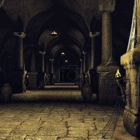 Dark medieval corridor