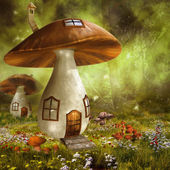 Colorful mushroom houses