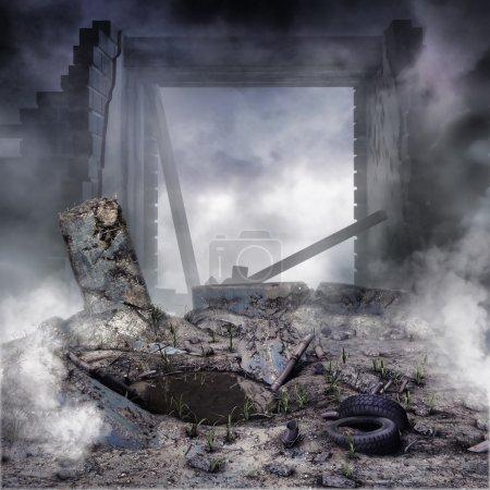décombres et ruiné bâtiment