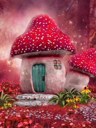 Photo for Fairy mushroom house on a pink meadow - Royalty Free Image