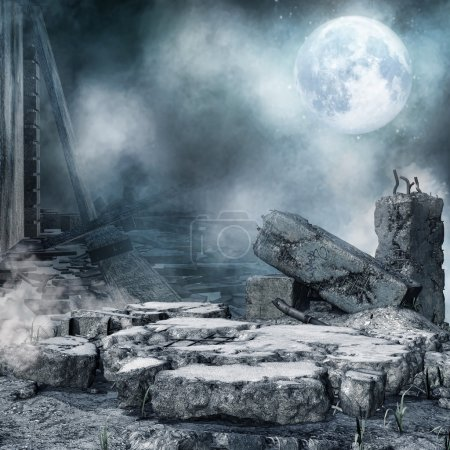 Night scenery with a moon, ruined city and rubble...