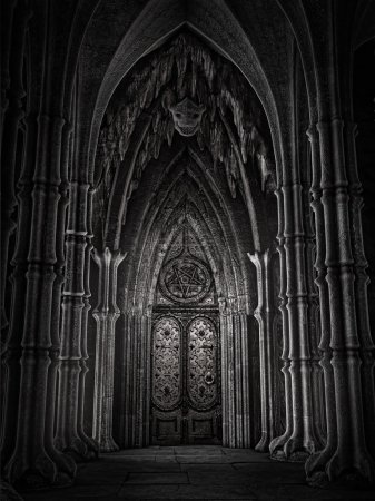 Ornamented door in a dark fantasy cathedral...