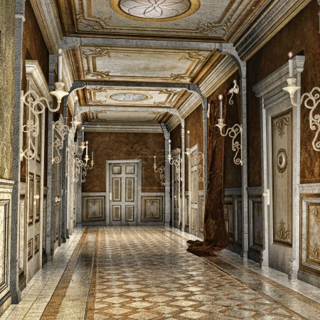 Ornamented corridor in a fantasy palace...