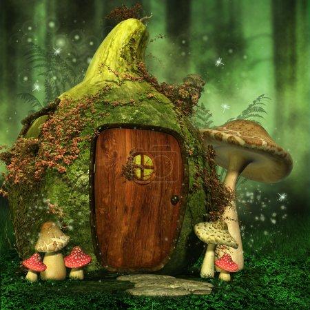 Photo pour Petite maison de la fée aux champignons colorés dans une forêt verte - image libre de droit