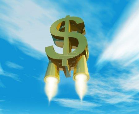Photo pour Symbole de l'argent avec des tuyères de fusée - image libre de droit