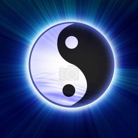 Photo pour Yin yang symbole sur un fond bleu doux - image libre de droit