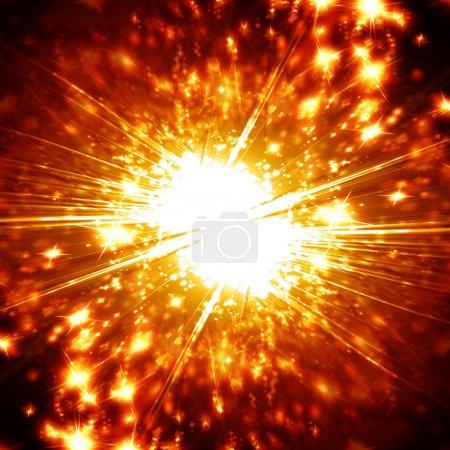 Photo pour Explosion sur un fond rouge et orange vif - image libre de droit