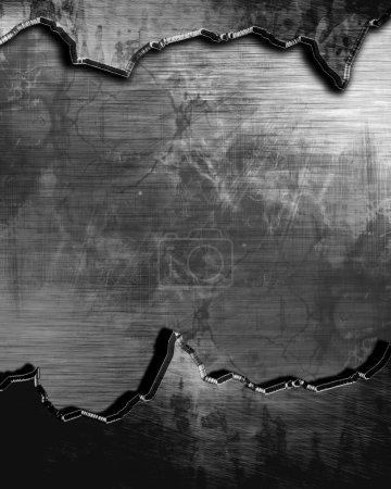 Photo pour Plaque métallique brossée avec lumière réfléchie et quelques reflets - image libre de droit