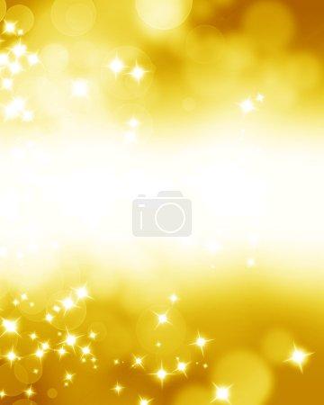 Photo pour Paillettes dorées sur un fond doux et flou avec des reflets lisses - image libre de droit
