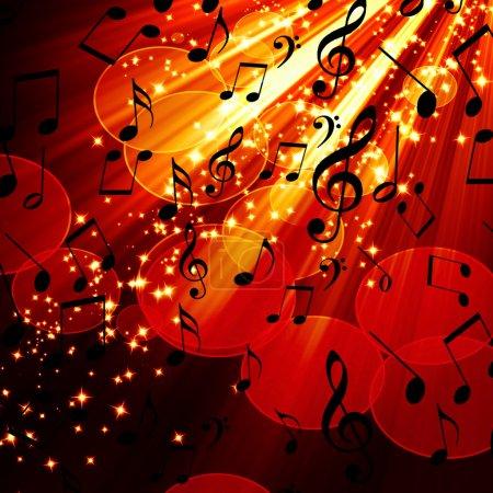 Photo pour Note musicale sur fond rouge et brûlant - image libre de droit