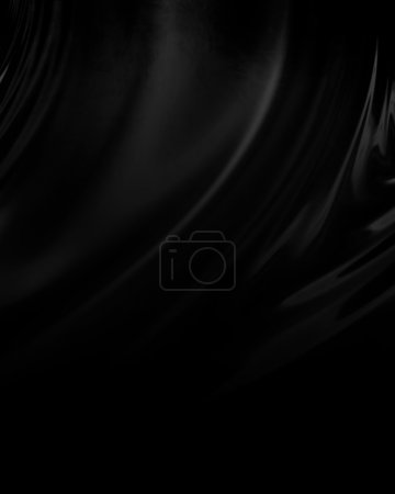 Photo for Black background resembling cloth, canvas, paint, silk or satin material with waving lines - Royalty Free Image