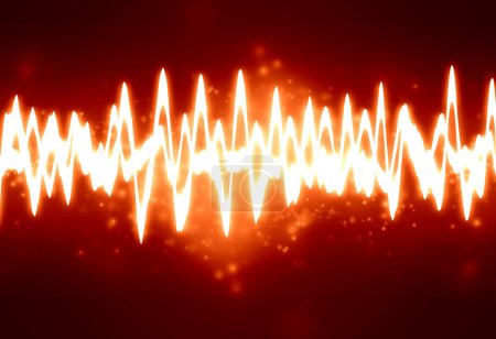 Photo for Bright sound wave on a soft red background - Royalty Free Image