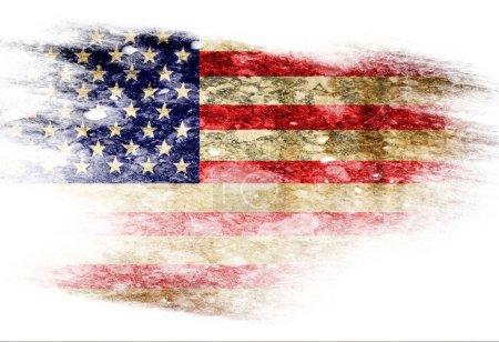 Photo pour Drapeau américain avec quelques effets de grunge et lignes - image libre de droit