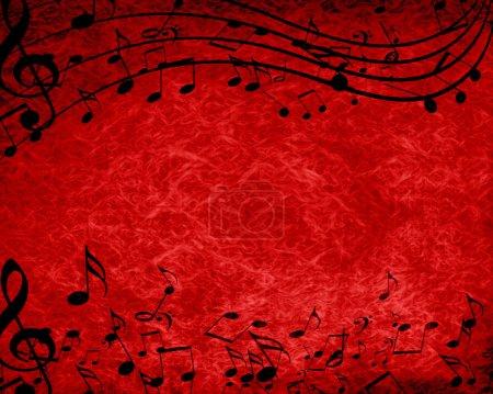 Photo pour Fond rouge avec quelques notes de musique dessus - image libre de droit