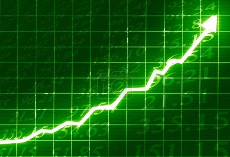 Photo pour Marché boursier : flèche graphique montant sur fond vert - image libre de droit