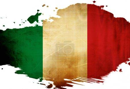 Photo pour Drapeau italien avec quelques effets de grunge et lignes - image libre de droit