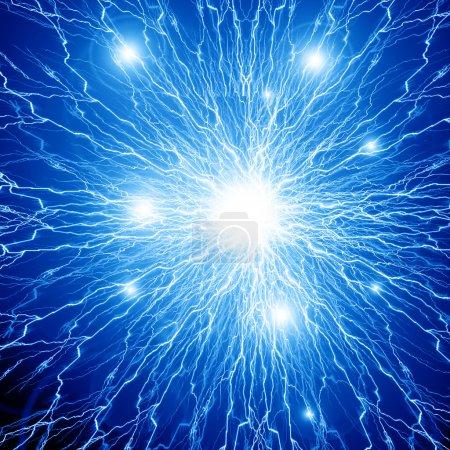 Photo pour Prise de vue de cellules cérébrales impulsions électriques sur un fond sombre - image libre de droit