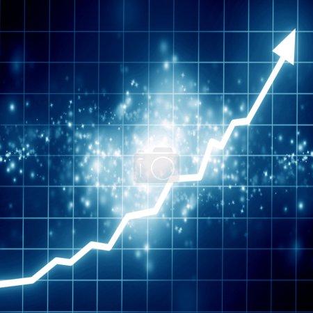 Photo pour Marché boursier : flèche graphique montant sur fond bleu - image libre de droit