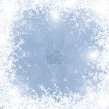 Photo pour Carte de vœux de Noël : ornements de Noël sur fond bleu - image libre de droit