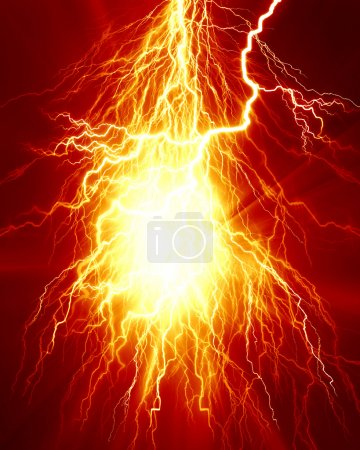 Photo pour Étincelle électrique ou la foudre sur un fond rouge vif - image libre de droit