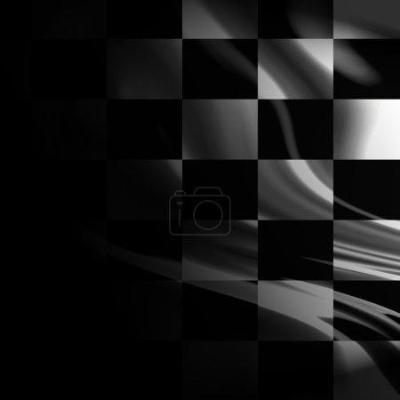 Photo pour Drapeau de course noir et blanc avec quelques plis lisses en elle - image libre de droit