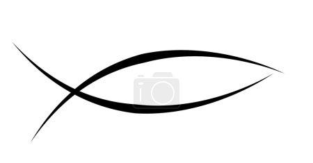 Photo pour Symbole de poisson chrétien noir sur un fond blanc solide - image libre de droit