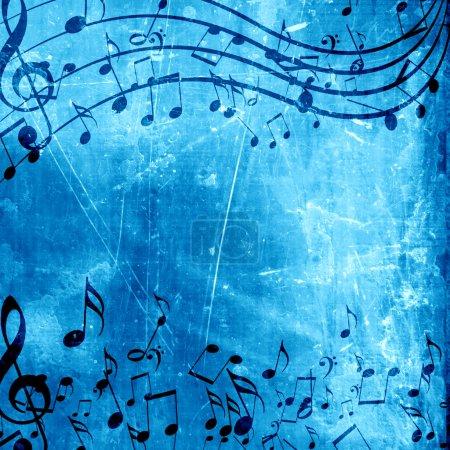 Photo pour Doux fond bleu avec quelques notes de musique sur elle - image libre de droit