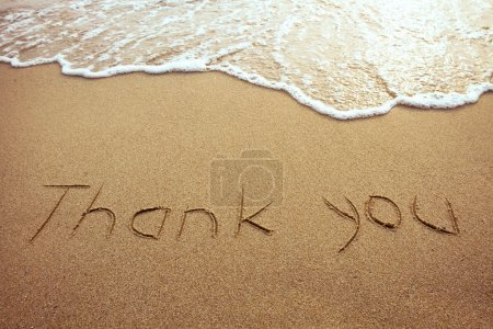 Photo for Thank you, word drawn on the beach - Royalty Free Image