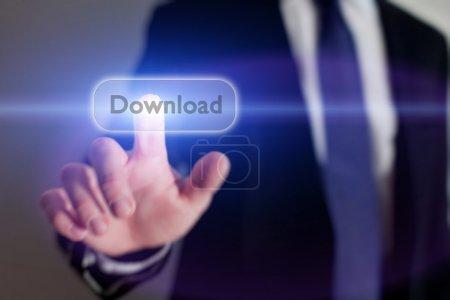 Businessman pressing Download button