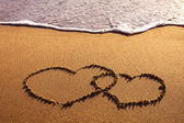Two hearts on beach