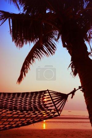 Photo pour Hamac sur la plage au coucher du soleil - image libre de droit