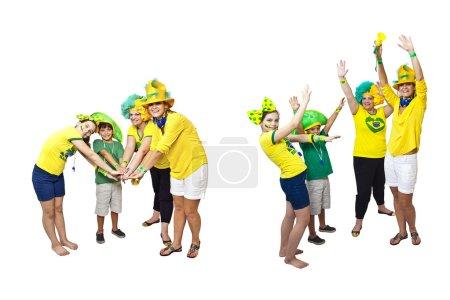 Brazilian fans stacking hands