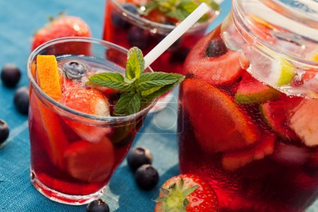 Refreshing sangria (punch) with fruits...