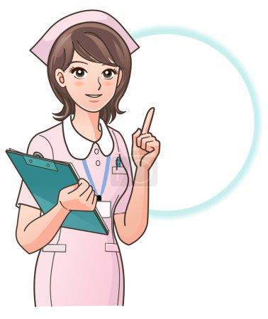 Photo pour Jeune infirmière, pointant le doigt vers le haut, en guidant les informations, avec un presse-papiers, isolé sur fond blanc. consulter mon portfolio pour plus de variation de l'infirmière. - image libre de droit