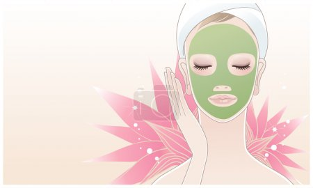 Illustration for Beautiful girl, young woman with beauty mask in her face on the lotus flower background. Skin care. Relaxation. - Royalty Free Image