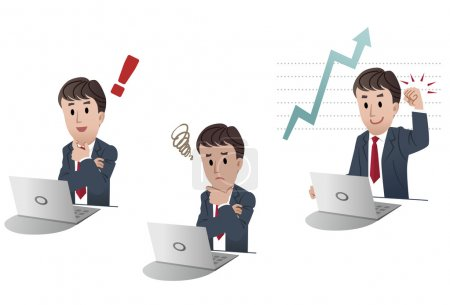 Illustration for Set of cartoon isolated businessman at desk with laptop computer, on white background. Three different poses: exclamation point, sales increase achievement, upset - Royalty Free Image