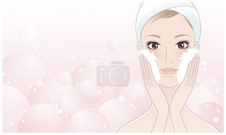 Beautiful girl, spa woman washing her face at bath