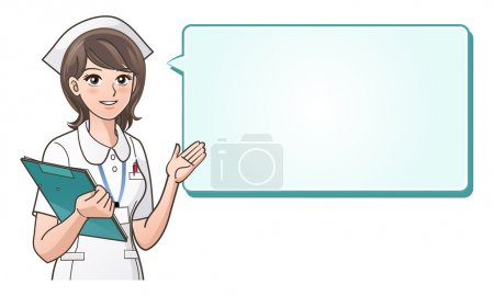 Illustration for Young cute nurse providing information with a smile on a speech bubble background.Health care, Nurse hat, Cartoon Nurse. isolated on white. Elements are on separated layers. Check my portfolio for more variation of this image. - Royalty Free Image