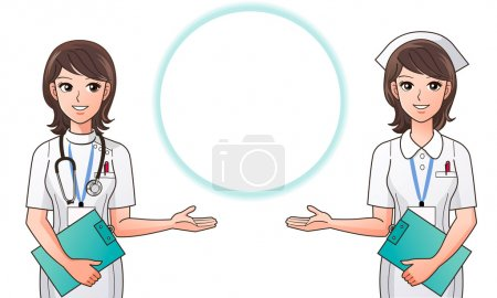 Young pretty nurses guide information, indicating information