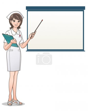 Illustration for Smiling nurse, presentation, point to a blank screen holding a clipboard. Health care. Nurse hat, Cartoon Nurse. Isolated on white. Elements are on separated layers. Check my portfolio for more variation of this image. - Royalty Free Image