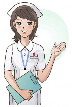 Illustration for Young nurse asking for silence, ordering silence, with her finger over her mouth, isolated over a white background. Elements are on separated layers. Check my portfolio for more variation of this image. - Royalty Free Image